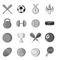 Sport equipment icons set black monochrome style vector