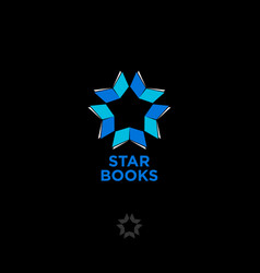 star books logo digital library chat community vector image