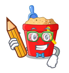 Student beach bucket shape the fun character vector