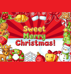 sweet merry christmas greeting card cute vector image