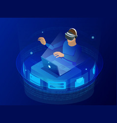testing games concept isometric man wearing vector image