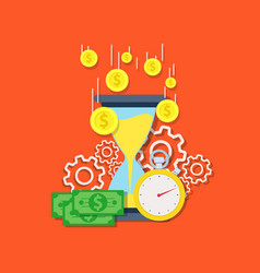 time is money concept flat design isolated on vector image