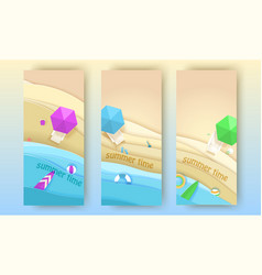 tropical beach banners set in paper art style vector image