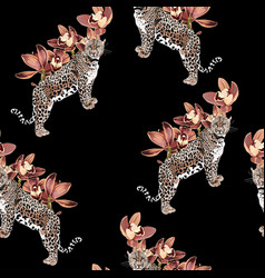 Tropical vintage orchid flower and lopard animal vector