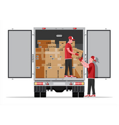 truck trailer loaded with cardboard boxes mover vector image