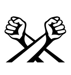Two crossed hands with fists vector