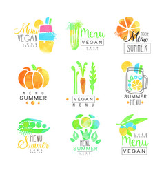 Vegan menu set for logo design collection of vector