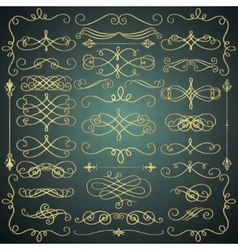 Vintage Hand Drawn Golden Swirls Collection vector image