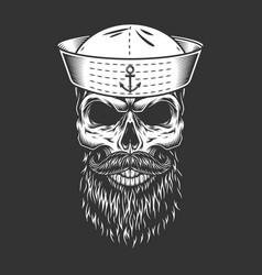 vintage mariner skull in sailor hat vector image