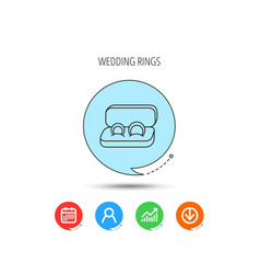 wedding rings icon jewelry sign vector image