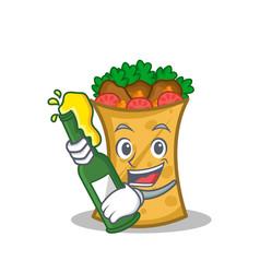With beer kebab wrap character cartoon vector