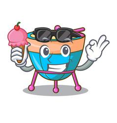 With ice cream cartoon timpani in the orchestra vector