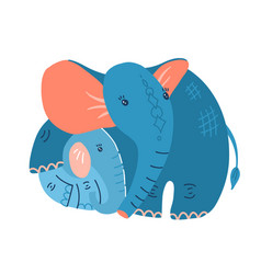 young blue baelephant with mother on a white vector image
