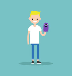Young character playing with a hand puppet flat vector