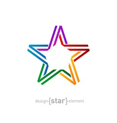 colorful star from ribbon on white background vector image vector image