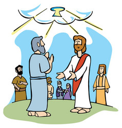 jesus gives peter keys to the kingdom of heaven vector image