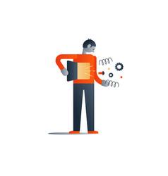 standing man with broken inner mechanism bad vector image