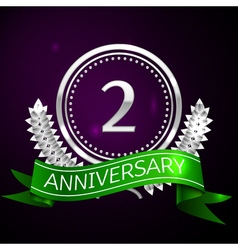 Two years anniversary celebration with silver ring vector image vector image