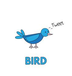 Cartoon bird flashcard for children vector