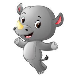 Cute happy rhino jumping vector
