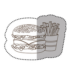 figure hamburger and fries french icon vector image vector image