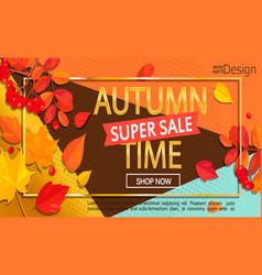 modern stylish golden autumn super sale banner vector image