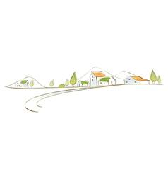 Rural houses landscape vector image