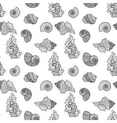 Seamless pattern sea shell vector image vector image