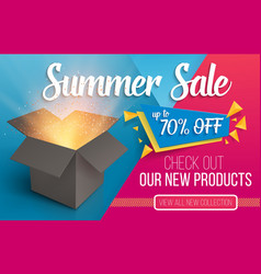 summer sale banner open box with light vector image vector image