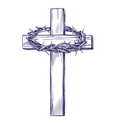 crown of thorns wooden cross easter symbol of vector image vector image