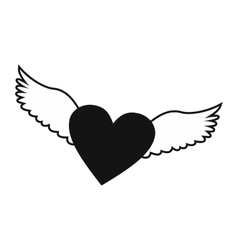 Heart with wings simple icon vector image vector image