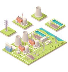 Isometric nuclear power facility vector