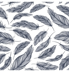 Pattern with Blue Feathers vector image vector image