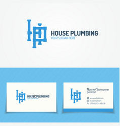 plumbing service logo set with pipelines vector image vector image