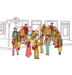 Street musicians doodles ink orchestra band vector