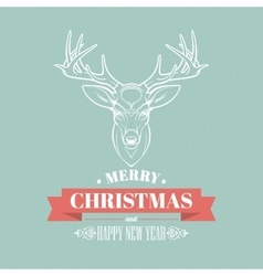 Christmas deer decoration design Typographic vector image