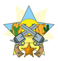 cowboy revolvers crossed cartoon vector image