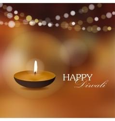 Diwali greeting card invitation with diya oil lamp vector image vector image