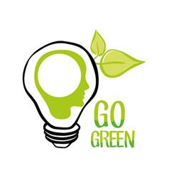 go green bulb human head ecology vector image