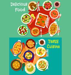 healthy food dish icon set for dinner menu design vector image