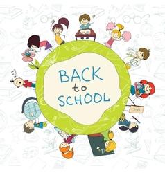Kids school emblem sketch poster vector image vector image
