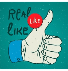 LikeThumbs Up symbol hand drawn vector image