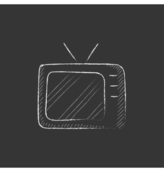 Retro television Drawn in chalk icon vector image