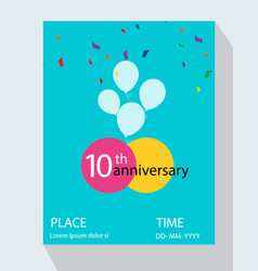 10th years anniversary invitation design vector image