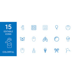 15 colorful icons vector
