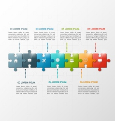 7 steps puzzle style infographic template vector