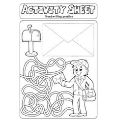 Activity sheet handwriting practise 4 vector