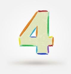 Alphabet letter number four Watercolor paint vector