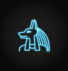 anubis god icon in glowing neon style vector image