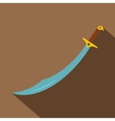 Arabian scimitar sword icon flat style vector image